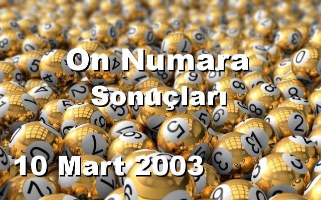 On Numara detay bilgiler 10/03/2003