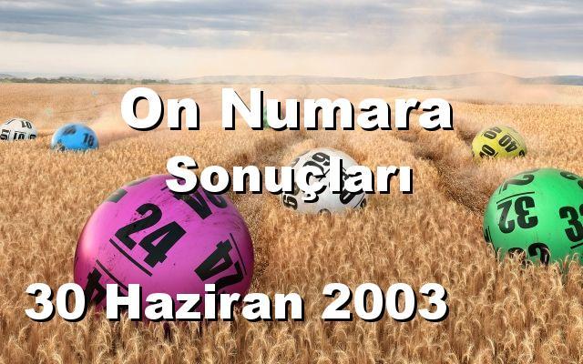 On Numara detay bilgiler 30/06/2003