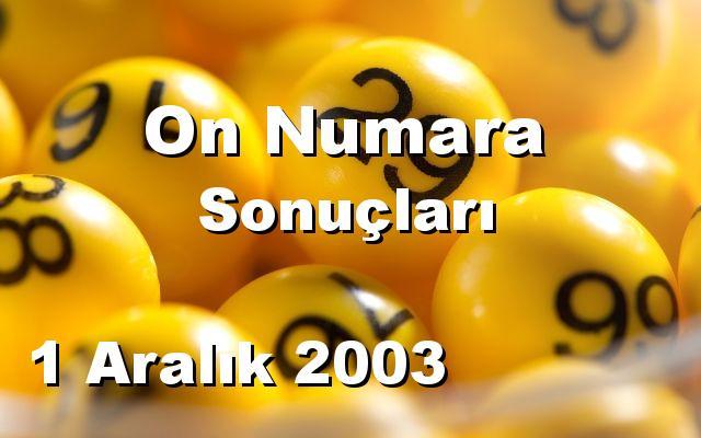On Numara detay bilgiler 01/12/2003