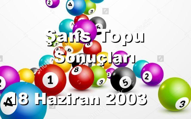 Şans Topu detay bilgiler 18/06/2003
