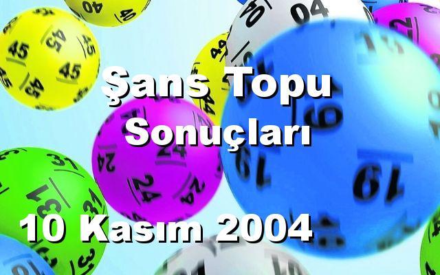 Şans Topu detay bilgiler 10/11/2004