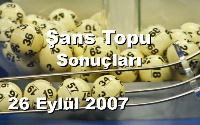 Şans Topu detay bilgiler 26/09/2007