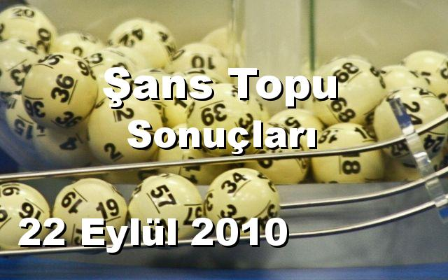Şans Topu detay bilgiler 22/09/2010