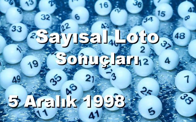 Sayısal Loto detay bilgiler 05/12/1998