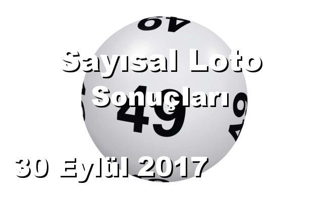 Sayısal Loto detay bilgiler 30/09/2017