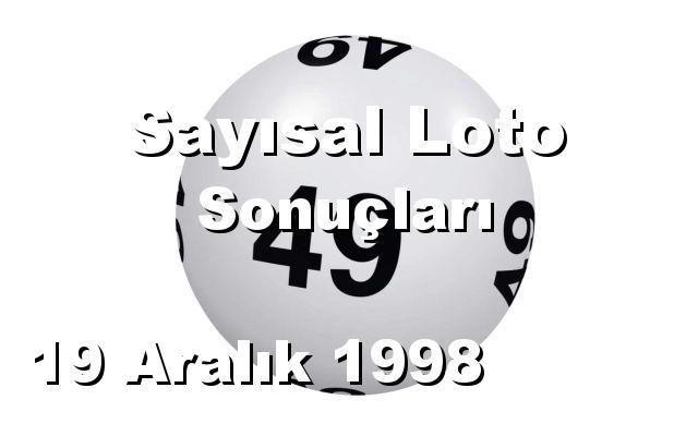 Sayısal Loto detay bilgiler 19/12/1998