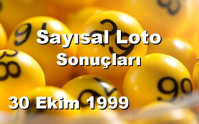 Sayısal Loto detay bilgiler 30/10/1999