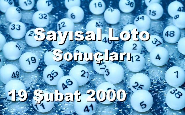 Sayısal Loto detay bilgiler 19/02/2000