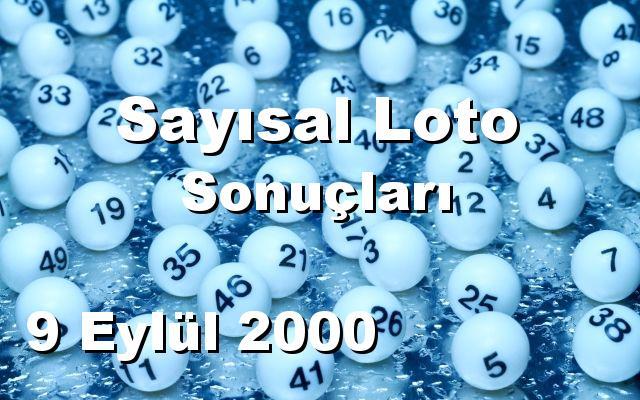 Sayısal Loto detay bilgiler 09/09/2000