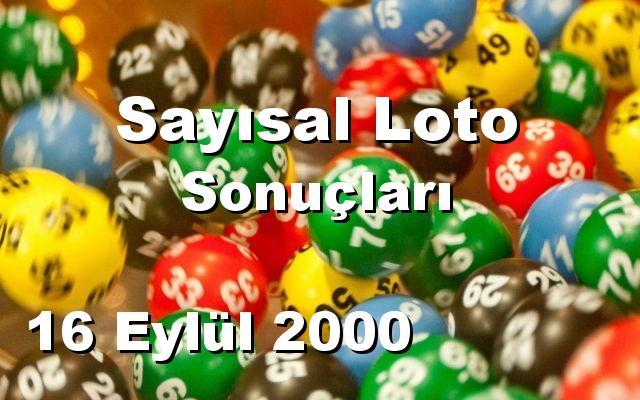 Sayısal Loto detay bilgiler 16/09/2000