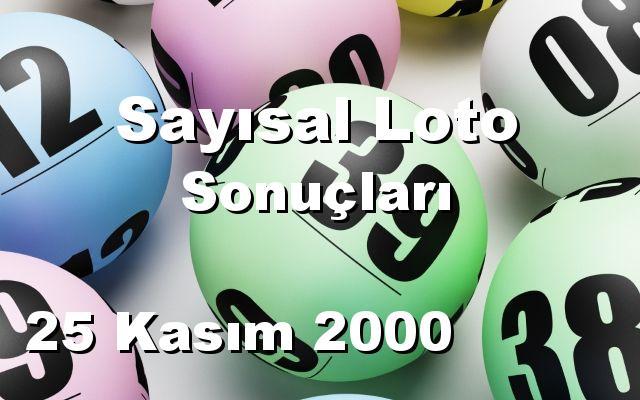 Sayısal Loto detay bilgiler 25/11/2000