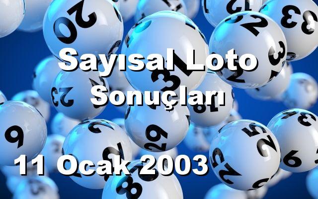Sayısal Loto detay bilgiler 11/01/2003