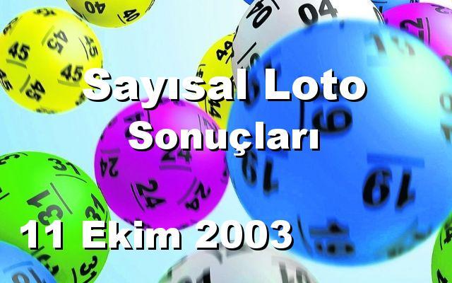 Sayısal Loto detay bilgiler 11/10/2003