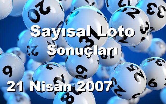 Sayısal Loto detay bilgiler 21/04/2007