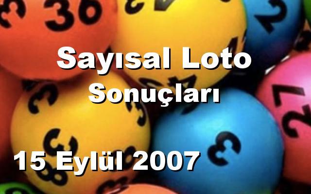 Sayısal Loto detay bilgiler 15/09/2007
