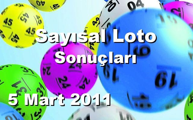 Sayısal Loto detay bilgiler 05/03/2011
