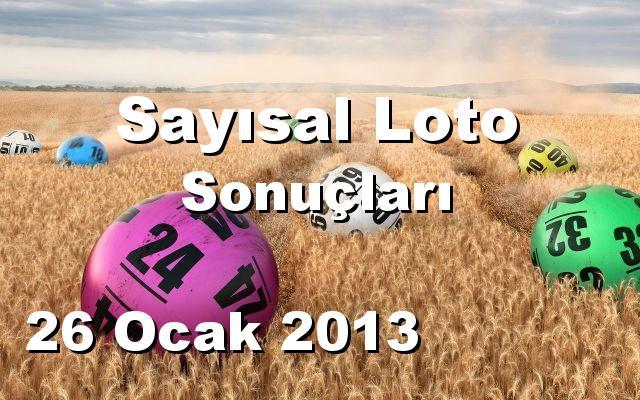 Sayısal Loto detay bilgiler 26/01/2013