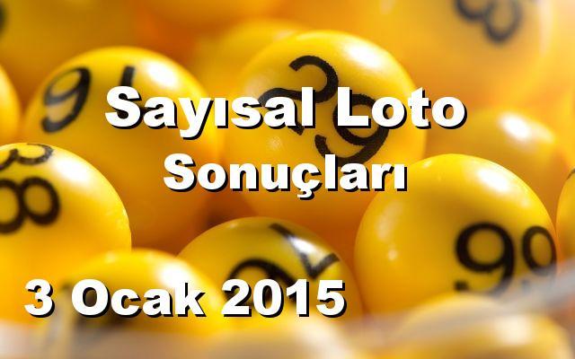 Sayısal Loto detay bilgiler 03/01/2015