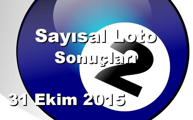 Sayısal Loto detay bilgiler 31/10/2015