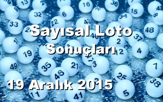 Sayısal Loto detay bilgiler 19/12/2015