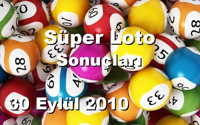 Süper Loto detay bilgiler 30/09/2010