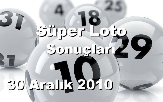 Süper Loto detay bilgiler 30/12/2010